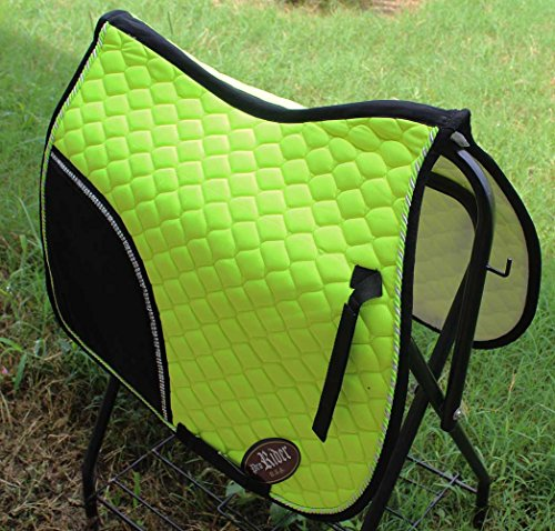 horse-quilted-english-saddle-pad-tack-trail-riding-lime-green-72f09