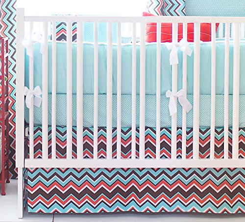 New Arrivals 4 Piece Crib Bed Set, Piper in Aqua