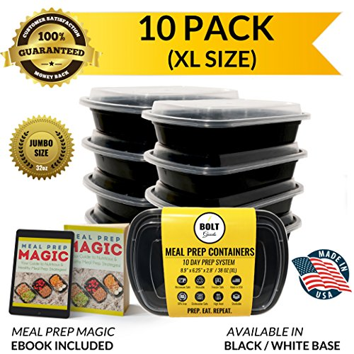 Bolt Goods XL Single 1 Compartment Plastic Meal Prep Containers (10 Pack 38 OZ) Durable Food Storage Bento Box Lunch Bowl with Leak Proof Lids for Portion Control BPA-Free USA Made Reusable Washable (Microwave Cover Boa Free compare prices)