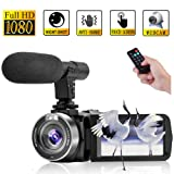 Camcorder Digital Video Camera, Camcorder with Microphone IR Night Vision Vlogging Camera with Remote Control Full HD 1080P 30FPS 3