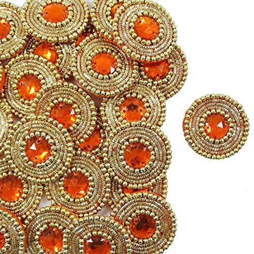 Orange Appliques Beaded Sequin Applique Craft Supply Decorative Patches 12 Pieces
