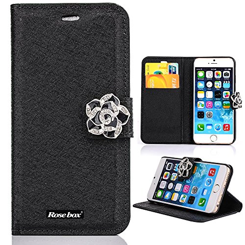 RoseBox® IPhone 6 Plus Case Apple iPhone 6 Plus Case 5.5 Inch Leather Case Elegant Design Silkworm Silk texture Series Rhinestone Flip Case Cover Slim Wallet Cover lus Stand Feature + Credit Card Holder Slots Fit For Apple iPhone 6 Plus 5.5 Inch (Black Silk holster)