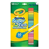 Crayola Super Tips Markers, Washable Markers, Gift, 50 Count (Renewed) (Color: Clear, Tamaño: 1 Pack)