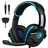 Sunbona Stereo Gaming Headset, Sades SA-708 GT Noise Cancelling Over Ear Headphones with Mic, Bass Surround, Soft Memory Earmuffs for Laptop Mac Nintendo Switch Games for PS4, PC (Blue) (Color: Blue)