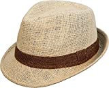 Jute natural with brown band hat . Size