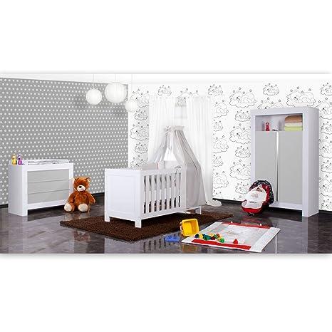 Babyzimmer Felix in weiss/grau 19 tlg. mit 2 turigem Kl + Sleeping Bear in grau