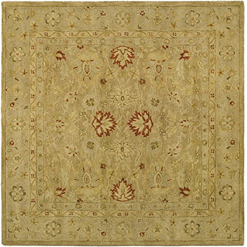 Safavieh Antiquity Collection AT822B Handmade Brown and Beige Wool Square Area Rug, 4 feet Square (4' Square)