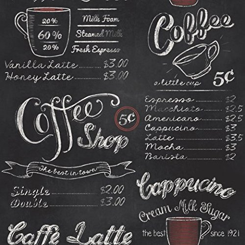 Rasch Portfolio Vintage Retro Coffee Shop Café Black White Chalk Wallpaper 234602