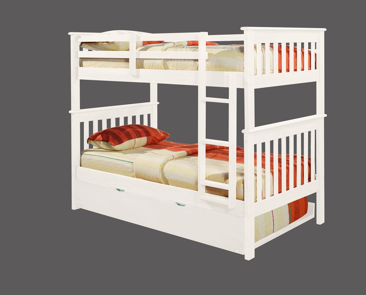 white wooden bunk beds with trundle
