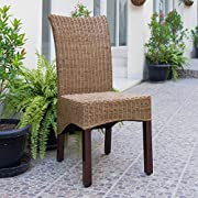 International Caravan SG-3307-2CH-IC Furniture Piece Campbell Rattan Wicker Stained Dining Chair (Set of 2)