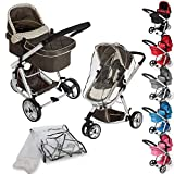 TecTake 3 in 1 Pushchair stroller combi stroller buggy baby jogger travel buggy kid's stroller -different colours- (Brown)