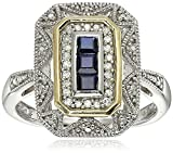 Sterling Silver and 14k Yellow Gold Blue Sapphire and Diamond-Accent Art Deco Style Ring (0.11 cttw, I-J Color, I3 Clarity), Size 8