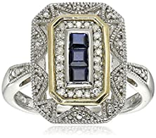 buy Sterling Silver And 14K Yellow Gold Blue Sapphire And Diamond-Accent Art Deco Style Ring (0.11 Cttw, I-J Color, I3 Clarity), Size 9