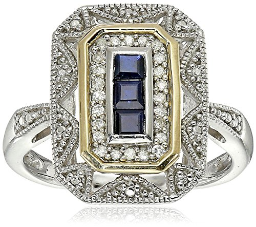 Sterling Silver and 14k Yellow Gold Blue Sapphire and Diamond-Accent Art Deco Style Ring