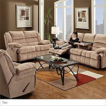 Simmons Upholstery 50410 Champion Double Motion Table Sofa Tan