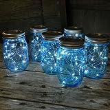 Mason Jar Lights Blue Pint - Battery Op. Cool White LED Fairy Lights - 6 PACK