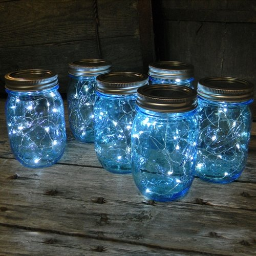 Mason Jar Lights Blue Pint, Battery Op. Cool White Led Fairy Lights, 6 Pack