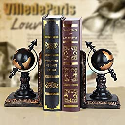 INTBUYING 1 Pair Resin Bookends Creative Bookends-Tellurion Book Stand Home Decor Christmas gifts(item# 251023)