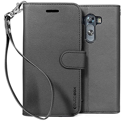 LG G3 Case, BUDDIBOX [Wrist Strap] Premium PU Leather Wallet Case with [Kickstand] Card Holder and ID Slot for LG G3, (Black) (Wallet For Lg G3 compare prices)