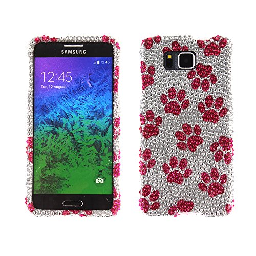 Fincibo (TM) Bling Crystal Full Rhinestones Diamond Case Protector For Samsung Galaxy Alpha G850 - Hot Pink Dog Paw (Samsung Alpha Case Custom compare prices)