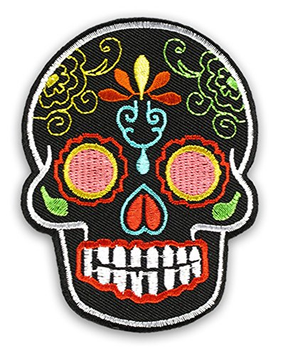 Sugar Skull Mexican Day of the Dead Tattoo Candy Black Embroidered Iron on Patch Badge