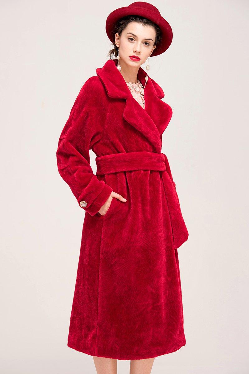 YIGELILA Women's Vintage Oversized Shearling Belted Long Fur Coat Wool Outwear 2