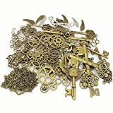 LolliBeads 230 Gram Antiqued Bronze/Silver Metal Skeleton Keys and Wings, Bronze Steampunk Watch Gear Cog Wheel, Chains, Clasps and Jump Rings DIY Kits (300 Pcs) (Color: BronzeSilver-Charm-Kits-300pcs, Tamaño: Kits300pcs)