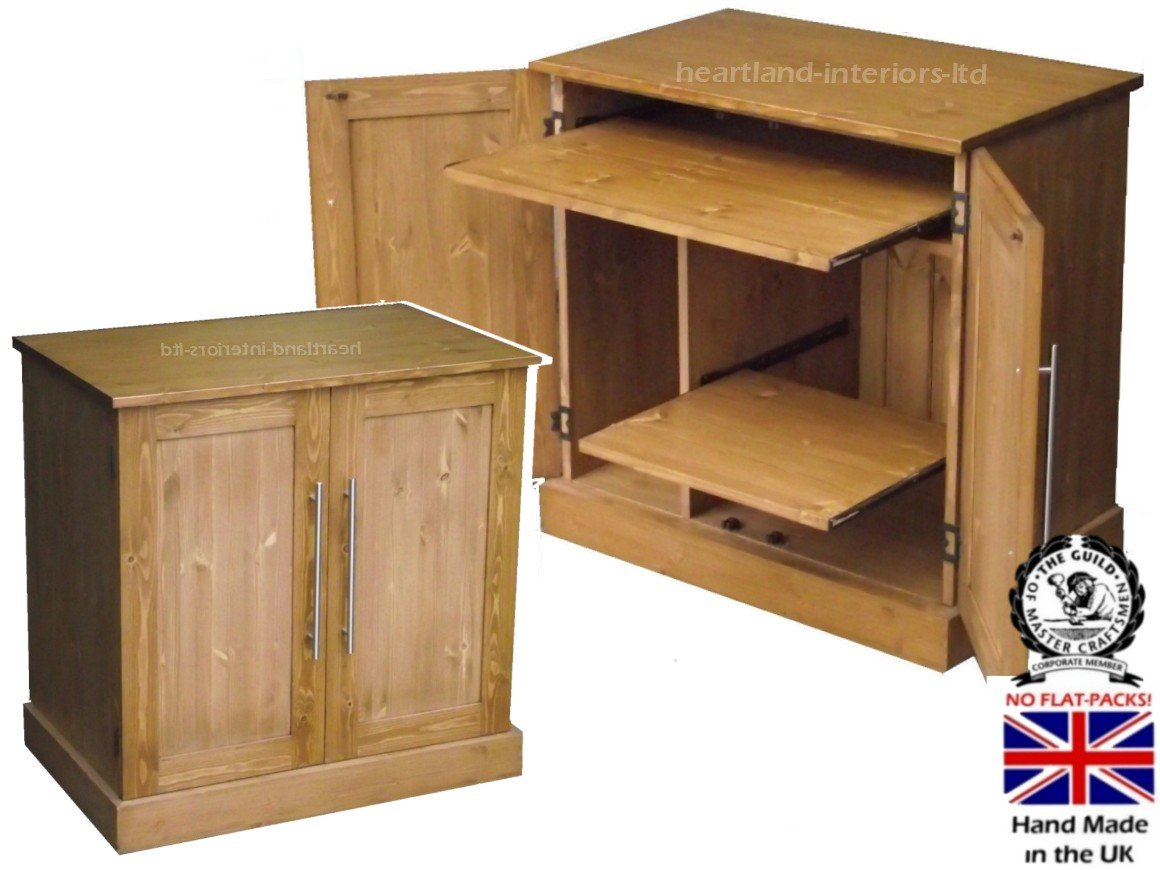 Solid Pine Desk, Computer Workstation, Hideaway, Hidden home office Bureau. Choice of Colours. No flat packs, No assembly (WS2D2)       Office ProductsCustomer review and more information