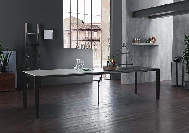 Zamagna - Tavolo allungabile Columbus 160 Zamagna - Struttura: Metallo laccato alluminio - Piana: Melaminico laccato liscio bianco - Supporto: No
