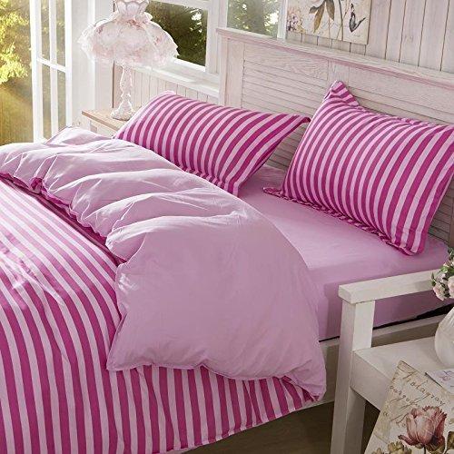 Cotton Blend Printed Pink Color Stripe Pattern Duvet Cover
