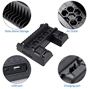 Zacro PS4 Slim/ PS4 pro/ PS4 Vertical Stand Cooling Fan, Dual Controller Charging Dock Station, Multifuctional Stand with Cooling and Charging System for Playstation 4/ PS4 Slim/ PS4 Pro Series (Tamaño: Standard)