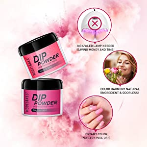 Dip Powder Nail Kit 6 Colors Red Glitter Dipping Powder System Starter Kit Acrylic Dipping System for French Nail Manicure Nail Art Set Essential Kit,Portable Kit for Travel