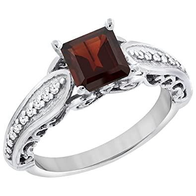 Revoni 14ct White Gold Enhanced Ruby Ring Square 8x8mm with Diamond Accents