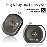 Avantree Lock Portable Pre-paired aptX LOW LATENCY Bluetooth Transmitter and Receiver Audio Adapter Set for Outdoor Use, TV Watching, Headphones, Speakers, Plug & Play, No Delay, 3.5mm AUX & RCA (Color: Titan - Lock)