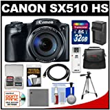 Canon PowerShot SX510 HS Digital Camera (Black) with 32GB Card + Case + Battery & Charger + Tripod + HDMI Cable + Kit