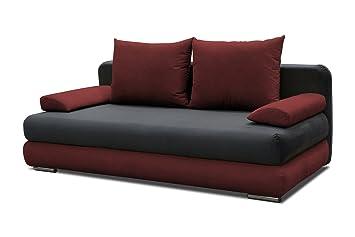 Sofa Celino in grau / rot mit Bettfunktion und Staukasten – Abmessungen: 205 x 95 cm (L x B)