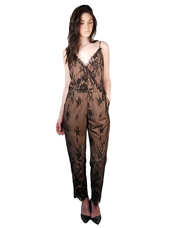 Greylin Liza Scalloped Lace Jumpsuit In Nude