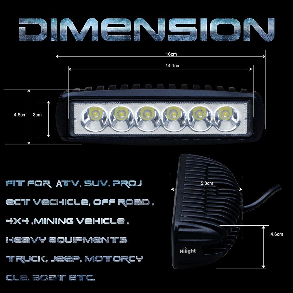 Nilight 2x 18w Spot LED Work Light Off Road Light Led Light Bar Fog Driving Bar for Jeep Cabin Boat SUV Truck Car Atvs