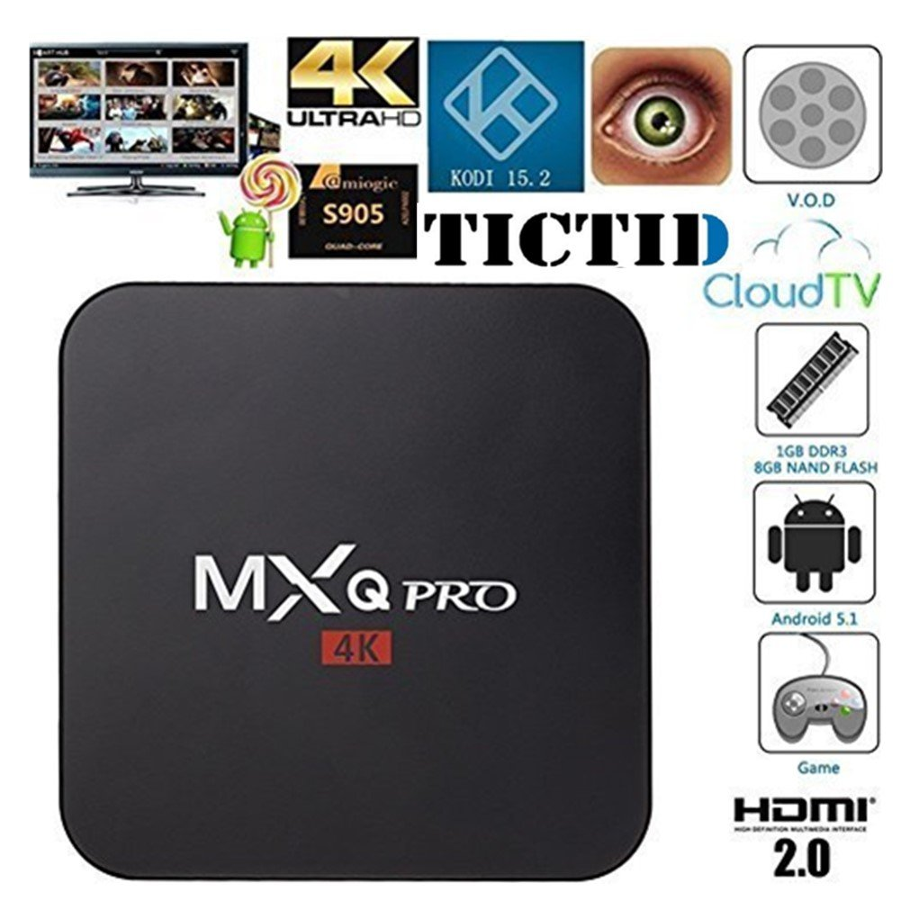 TICTID MXQ Pro Android TV Box Amlogic S905 Chipset Kodi 15.2 Full Loaded Android 5.1 Lollipop OS TV Box Quad Core 1G/8G 4K Google Streaming Media Players with WiFi HDMI DLNA