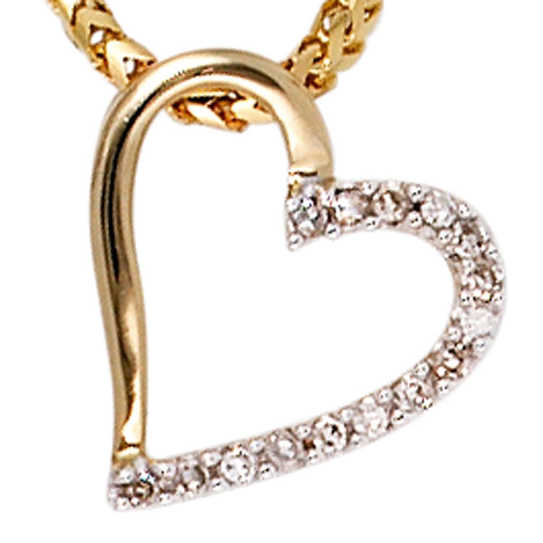 Damen Gold Anhänger 585 Gold Gelbgold teilrhodiniert 15 Diamanten Brillanten 0,05ct. günstig online kaufen