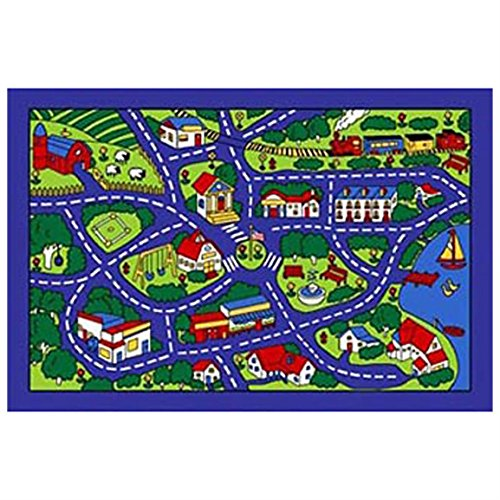 City Street Map Blue Village Area Rug Carpet Mat 8x11 Feet Perfect for Child's Room