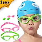 Kids Swim Goggles, 2 Pack Crystal Clear Swimming Goggles for Children and Teenagers, Anti-fog Anti-UV Youth Swimming Glasses, Leak proof, Free ear plugs, one button open straps, for 4-15 Y/O (Color: 2 Pack Goggles-Green & Rose Red, Tamaño: Small)