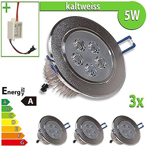 3x LED Einbaustrahler Einbauleuchte 3-er Set 5 W rund, kaltweiss EBL91