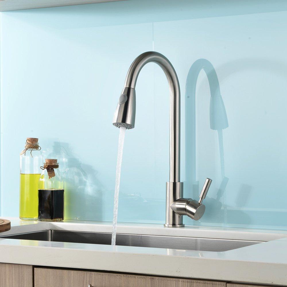 VAPSINT YFT010L-Child Stainless Steel Single Handle Kitchen Sink Faucet