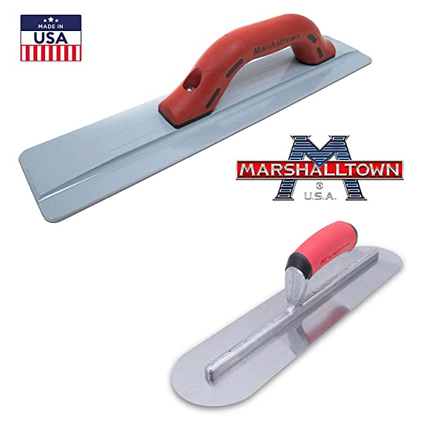 Marshalltown Concrete Finishing Tools - Magnesium Hand Float 18x3 1/8 pair up with a 16x4 fully Rounded Finishing Trowel