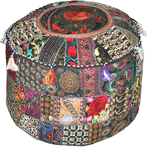 Indian Patchwork Pouf Cover Indian Living Room Pouf,Embroidered Designer Ottoman, Home Living Footstool Chair Cover, Bohemian Ottoman Pouf Decor 14x22 Inch.