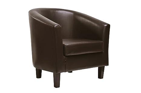 Sessel, Clubsessel, Lounge- & Cocktailsessel aus Kunstleder, klassisches Design in 4 Farben *BRAUN*
