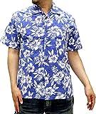 (ルーシャット) ROUSHATTE アロハシャツ 半袖 シャツ ハイビスカス 20柄 S ブルー