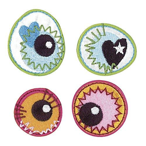 Rayher Hobby 69022000  Stoff Aufbügelmotiv Crazy Eyes, circa 3-4 cm, SB-Beutel, 2-Paar, orange / grünblau