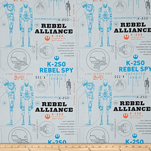 Rogue One: A Star Wars Story K-2S0 Light Grey Fabric By The Yard